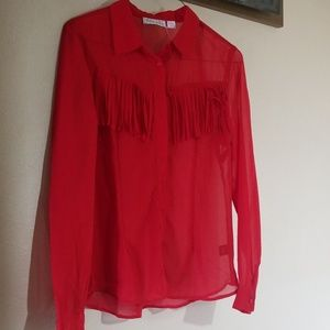 Western sheer red blouse